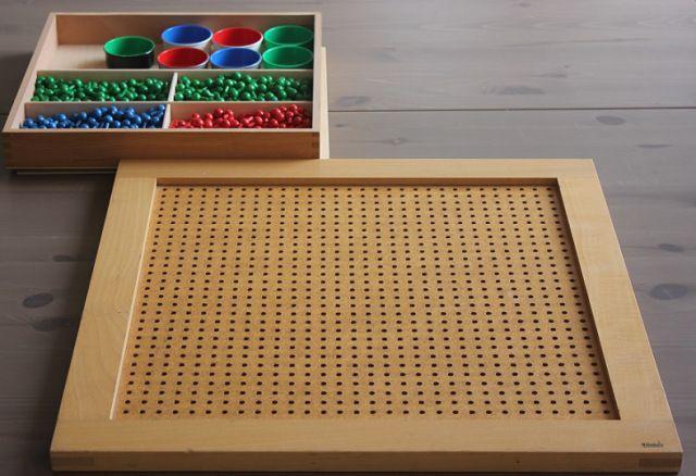 La planche à clous Montessori pourprimaire + collège :   Des 4 opérations,  -      Des carrés des nombres,  -      Des racines carrées,  -      Des facteurs d'un nombre, des facteurs communs à plusieurs nombres et donc  du plus grand commun multiple à plusieurs nombres.  -      Des multiples des nombres et du plus petit multiple commun à plusieurs nombres, ce qui est très utile pour les fractions,  -      De la notion de nombre premier.