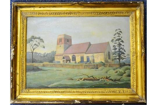 Harold Steggles (1911-1971) ''Badley Church, Suffolk'' Signed, signed and inscribed verso, oil o