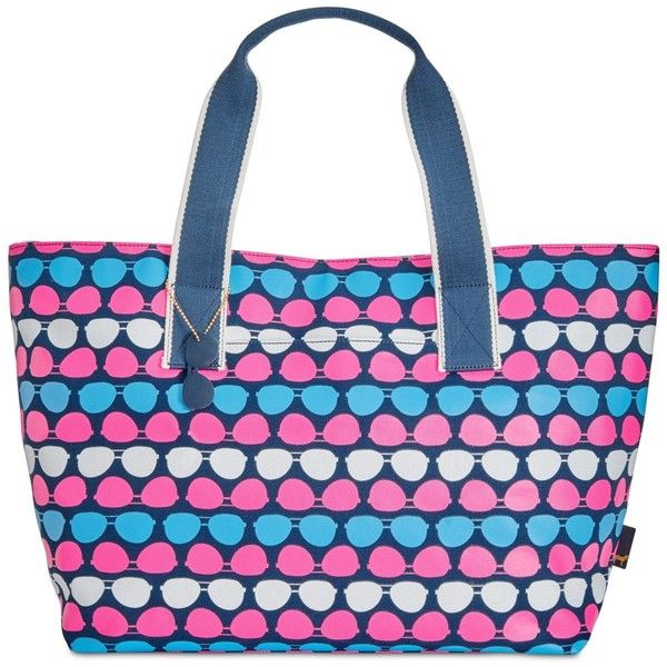 Macy's Large Twill Printed Beach Tote ($42) ❤ liked on Polyvore featuring bags, handbags, tote bags, navy dot, polka dot tote bag, navy blue handbags, beach tote bags, navy tote and navy blue purses