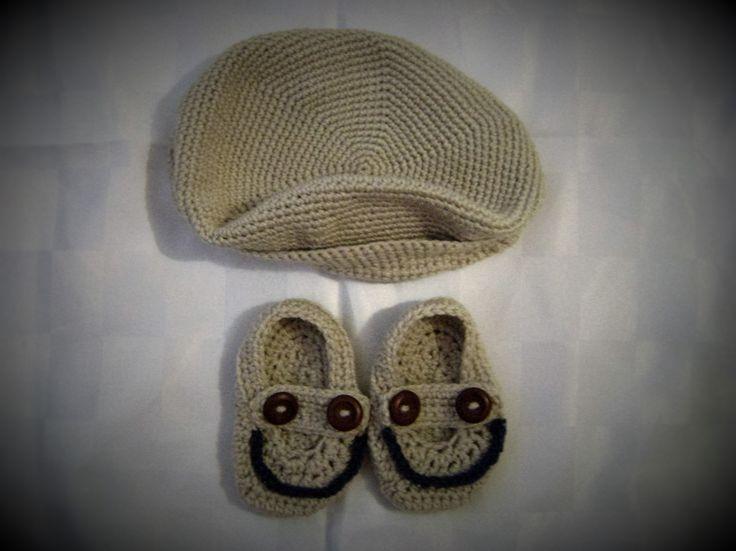 Mocasines y boina crochet