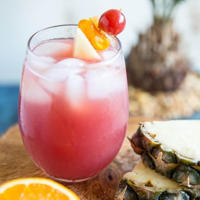Inspired by Carnival Cruises, this Pirate Punch is sweet, fruity, and tastes just like the tropics! Makes a pitcher for 8 or double the batch!