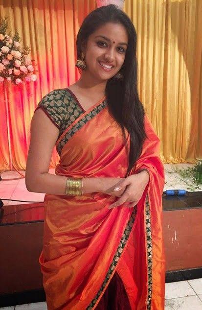 Keerthi Suresh Homely Photos In Saree Keerthi Suresh