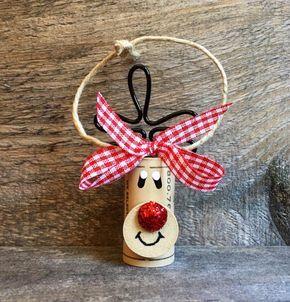 Set of 4 Wine Cork Reindeer Ornaments Rudolph di ReconditionaILove