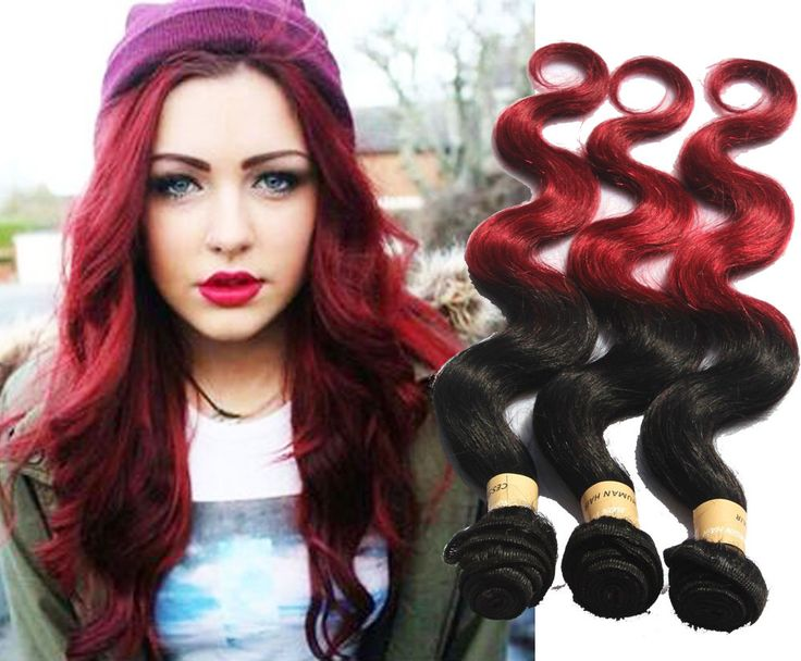 1B/BURG Ombre High Quality Real Human Hair Extension Brazilian Haar Weave 50g/pc #WIGISS #HairExtension