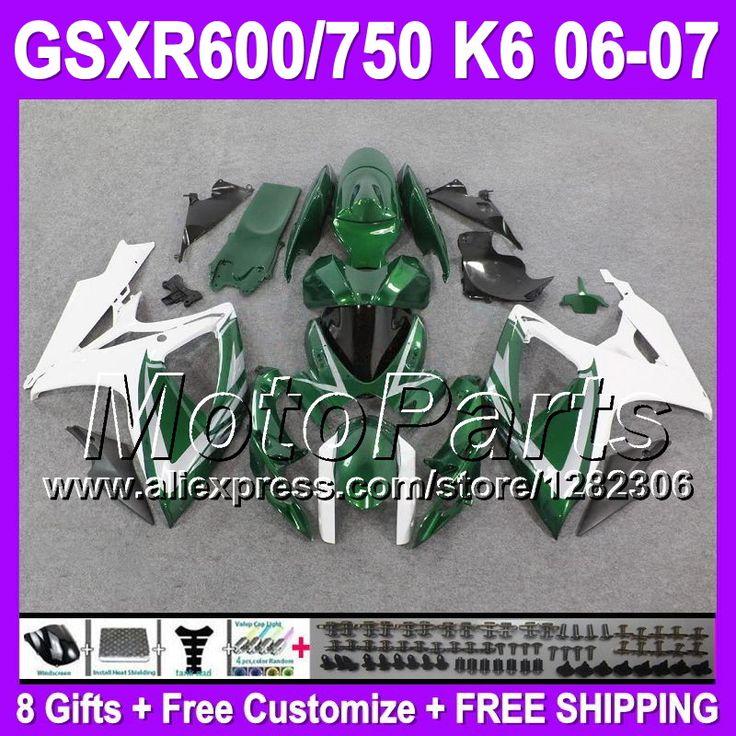 Зеленый белый 8 подарки для SUZUKI GSXR600 GSX-R600 K6 тела P3651 GSXR-600 06 07 GSX R600 GSXR 600 2006 2007 зализах блеск зеленый