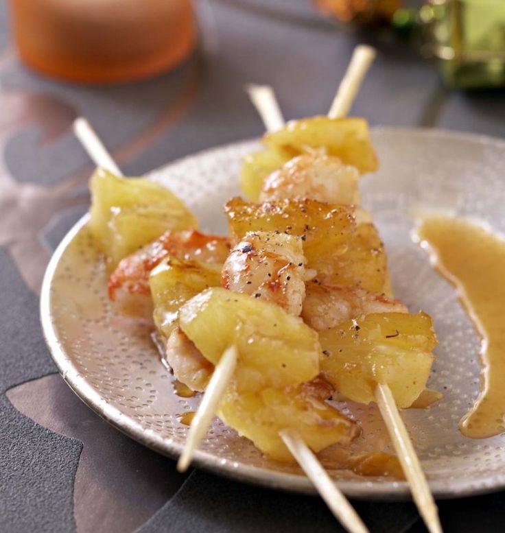 Photo de la recette : Brochettes de gambas et ananas