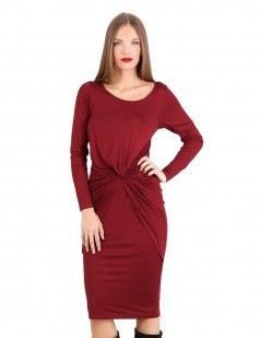 Bordeaux knot front detail bodycon - Red