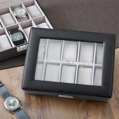 Personalized Black Leather Groomsmen Watch Box
