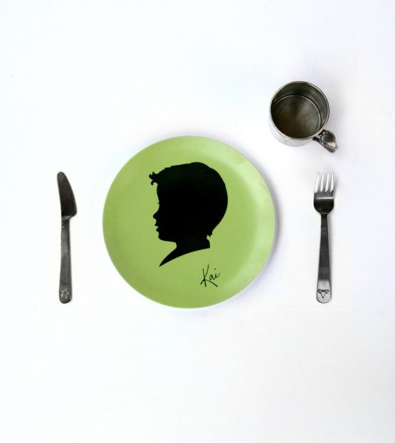 Personalized Children's Melamine Plate with Custom Silhouette by FlutterbyePrints