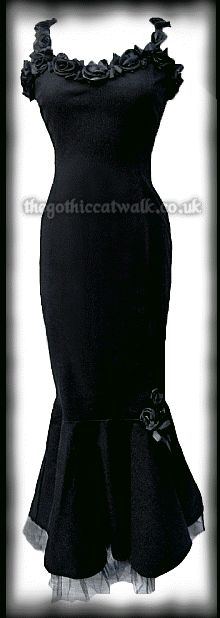 Long Black Gothic Mermaid Dress with Roses from The Gothic Catwalk An