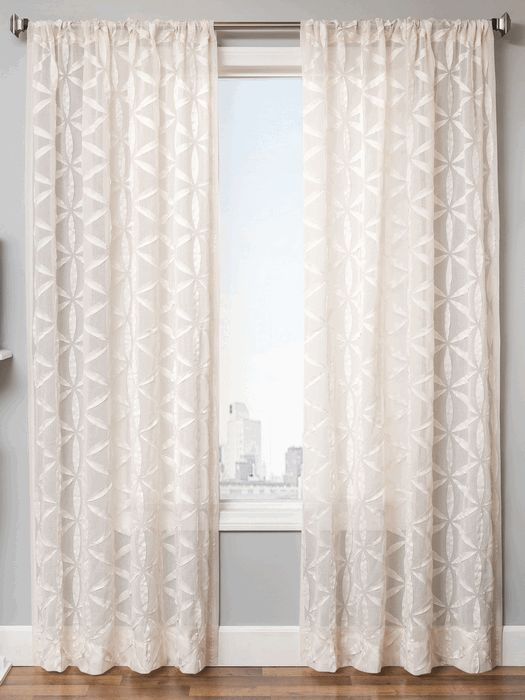 Starburst Sheer Style Curtain Drapery Panel With Applique Geometric Pattern  In Standard Size Drapes And Extra