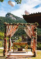 Um casamento moderninho foi a escolha de Carla e Vinicius, que oficializaram a união no interior de São Paulo.