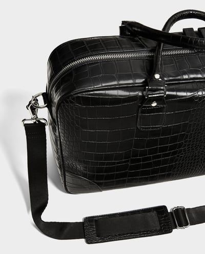 BLACK BOWLING BAG WITH REPTILE-EFFECT EMBOSSING-Travel-BAGS-MAN | ZARA United States