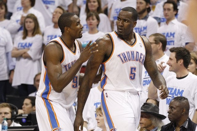 Interview: Thunder's Serge Ibaka superior athlete and champion for UNICEF. Photo: Serge Ibaka moves Kendrick Perkins from a possible altercation in NBA game 2. AP