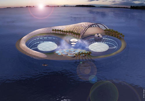 Hydropolis - Dubai - A vast  land station welcome guests , a tunnel Hall transport people by train to the main area of the hotel, and the 220 bubble-shaped suites in a submarine leisure area. Each room will have bathtub and clear glass.