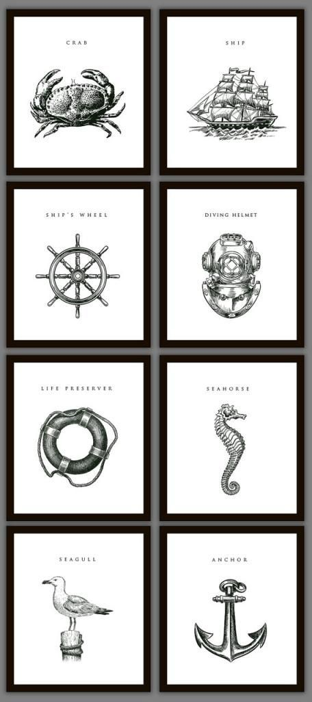 (Masculine) Nautical Style - print from your own printer and go to Dollar Store for simple black frames: