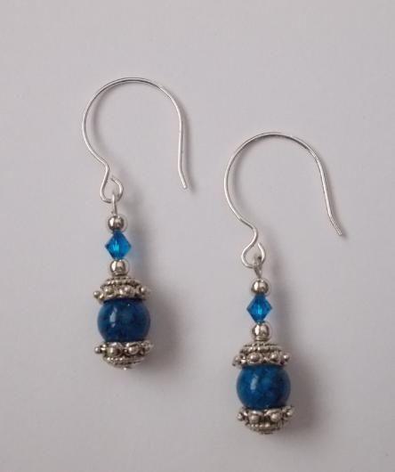Blue Ornate Glass Bead Dangle Earrings Handmade