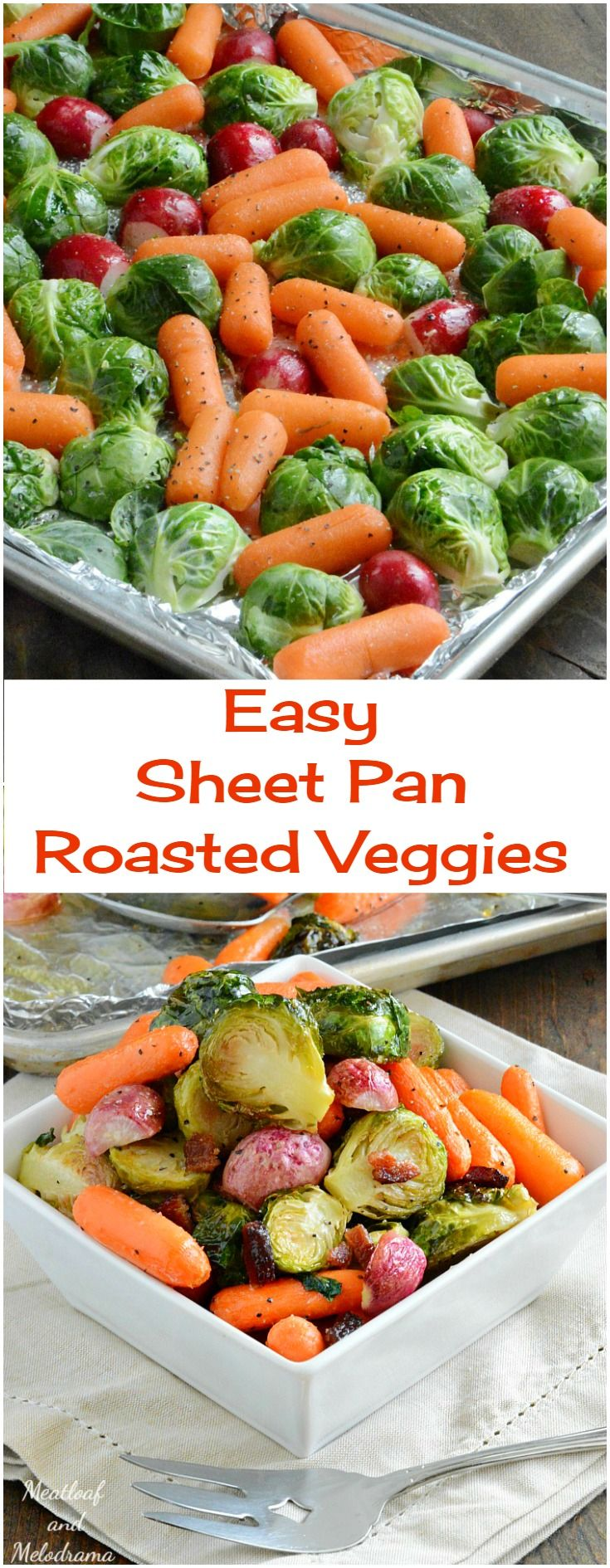 Easy Sheet Pan Roasted Veggies - A healthy side dish for Thanksgiving or anytime. Roasted radishes, carrots and Brussels sproutes take 30 minutes to cook and clean up is super easy too!