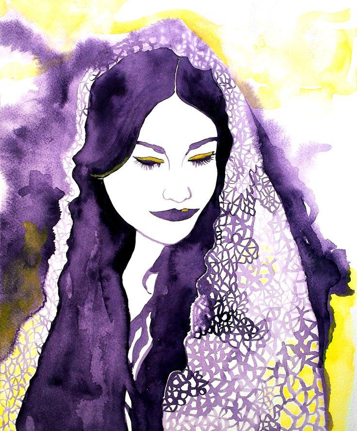 """Modest bride"". Original painting by L. Tuimala. #watercolor #art #painting"