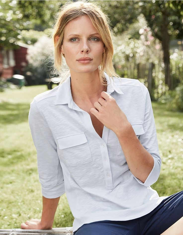 A bestselling style for us, our half placket Jersey Shirt is tirelessly versatile. Made from our top-quality cotton jersey and with a ribbed panel on each side, this classic shirt has a wonderfully flattering fit and will wash and wear beautifully. Now with three-quarter length sleeves and square pocket flaps, the slub finish you love is retained. Add this to your collection for the perfect blend of smart-casual style. Slim fit Two front pockets 100% cotton