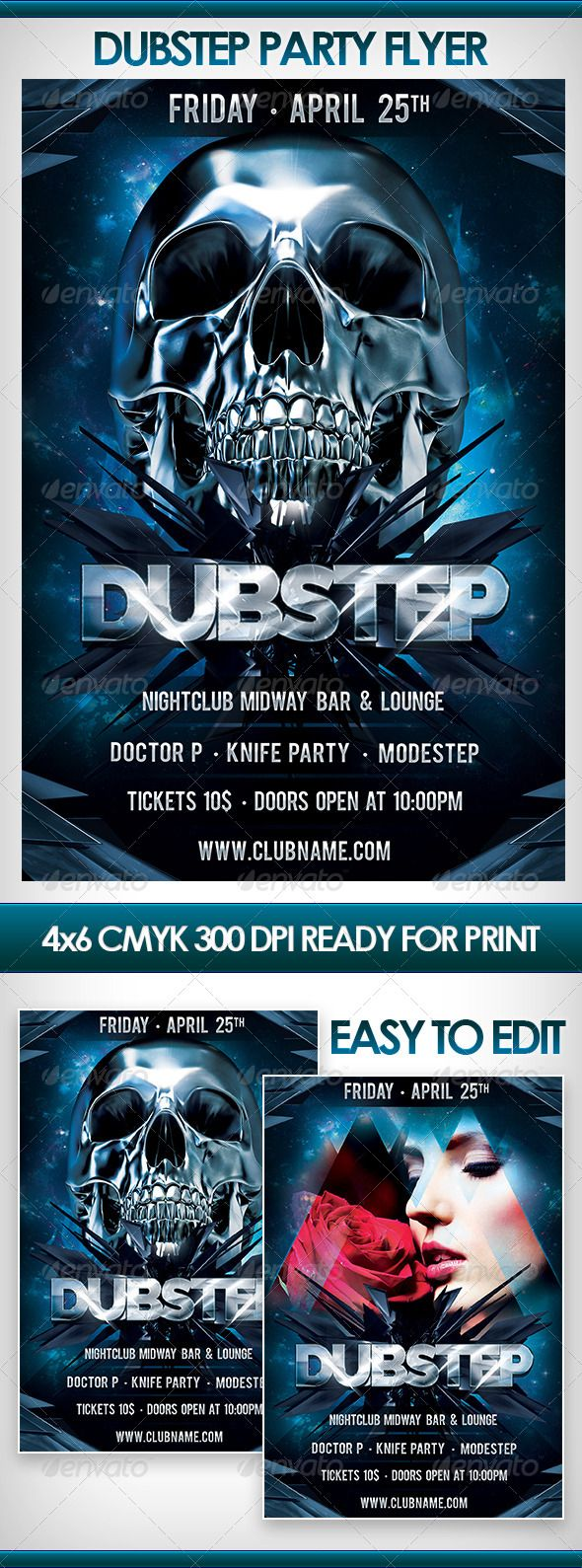 Dubstep Party Flyer  #GraphicRiver        Dubstep Party Flyer Includes   1 PSD Full layered 4×6 300dpi CMYK Easy to edit  Help file Fonts used  Raleway,  .google /fonts/specimen/Raleway  Bebas,  .dafont /bebas.font Images in the preview are not included, but you can download it here!  Metallic Skull  .dreamstime /royalty-free-stock-photos-metallic-skull-image5205838  Girl with rose  .shutterstock /pic.mhtml?id=75598330 	 Dont forget rate if you like it!!  	 If you have any questions…