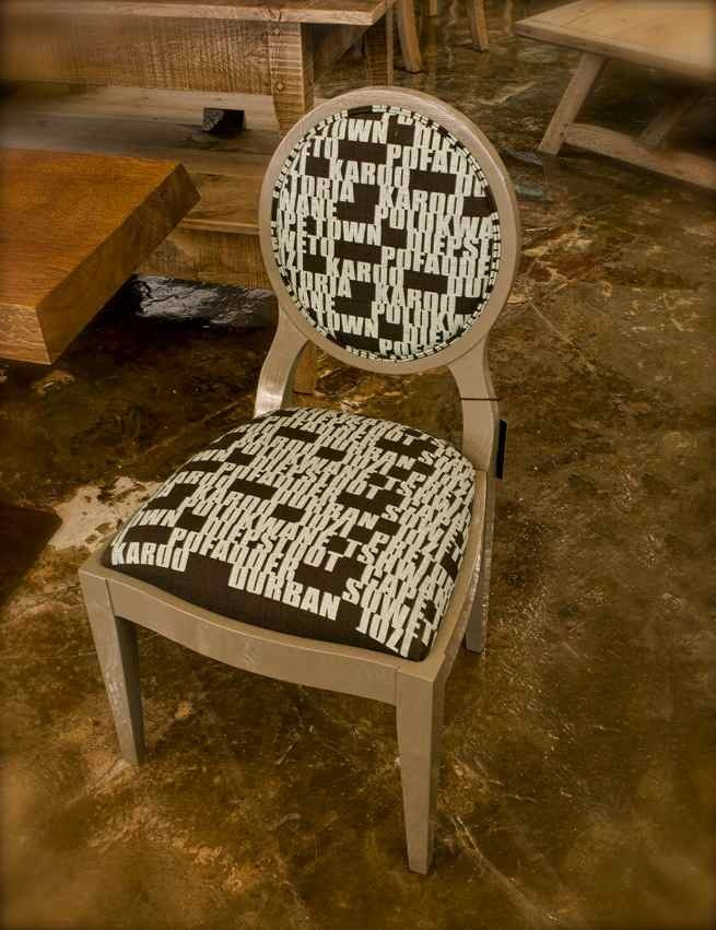 A Pierre Cronje Sandton chair upholstered in Towns Design from the Design Team Homegrown Collection.