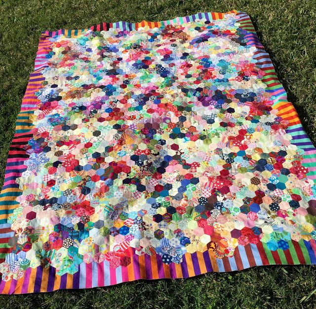 Scrappy Hexagon {A Finished Quilt Top}                              …