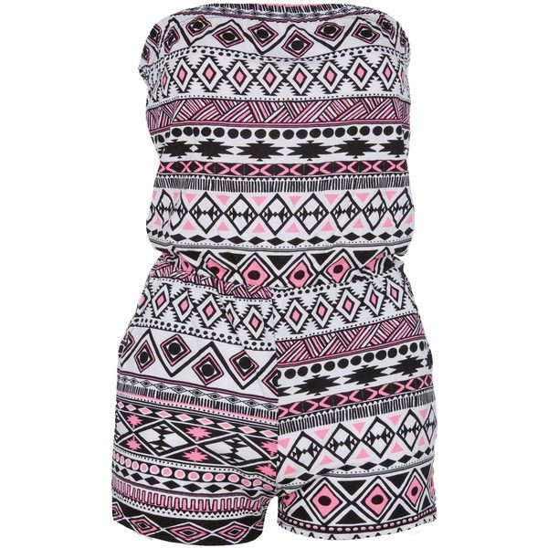 Neon Pink Aztec Print Strapless Playsuit ($13) ❤ liked on Polyvore featuring jumpsuits, rompers, dresses, playsuits, neon pink romper, strapless rompers, strapless romper jumpsuit, romper jumpsuit and playsuit jumpsuit
