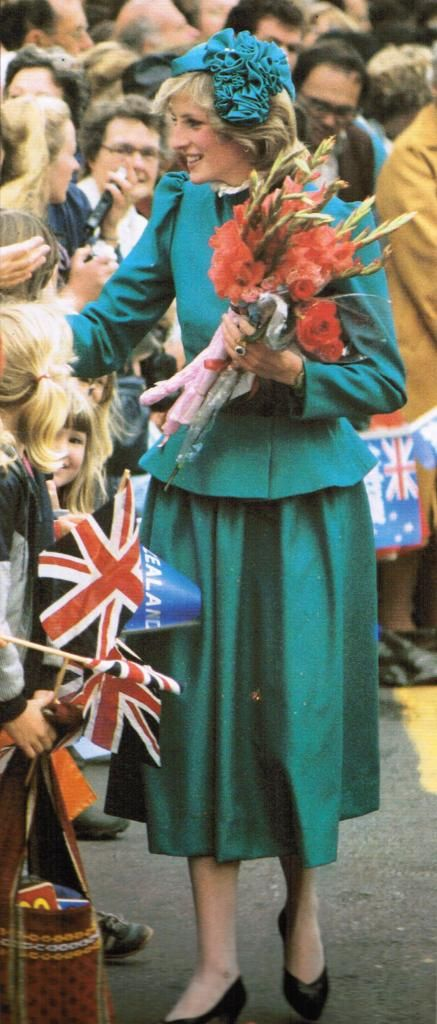 April 20, 1983: Princess Diana on a walkabout after attending church services in Wellington, New Zealand.