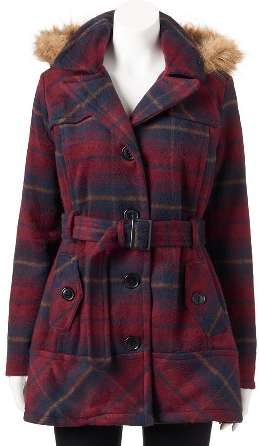 Juniors' Urban Republic Plaid Faux-Fur Wool Blend Jacket