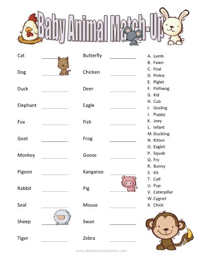 printable baby animal match up game baby shower pinterest