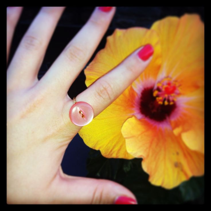 Peach and Gold Handmade Vintage Button Ring