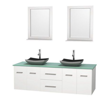 Wyndham Collection Centra 72 inch Double Bathroom Vanity in Matte White, Ivory Marble Countertop, Avalon Ivory Marble Sinks, and 24 inch Mirrors, Beige