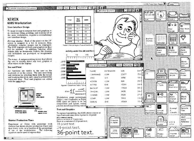 Sample Viewpoint screen on a Xerox 8085 from the mid 1980s.