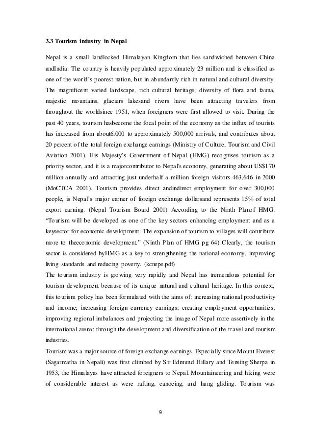 Thesis On Tourism Industry In Nepal - The best estimate professional