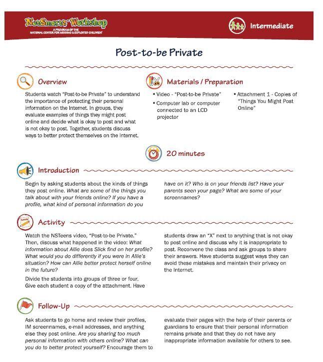 Best Netsmartz Lesson Plans Images On   Internet