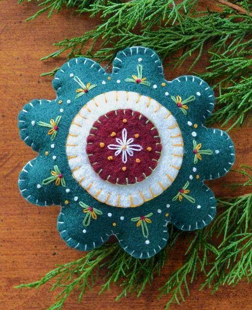 my blue heaven wool applique | wool applique stitchery ornament pattern