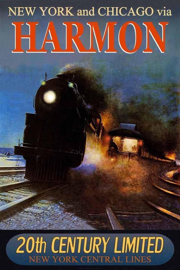 HARMON - New York Central Railroad 20th CENTURY Ltd Train Poster Art Print 221 | eBay