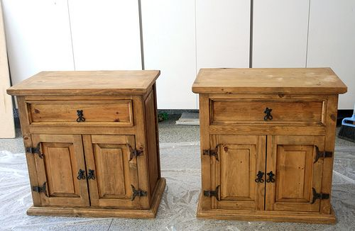 Refinish mexican pine....  Nightstands before they were painted. I am definately going to do this to our queen set when we move. Im thinking antique white.