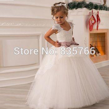 2015 bola vestido de casamento vestido de festa vestido Pageant para meninas / crianças vestido de casamento do laço vestido