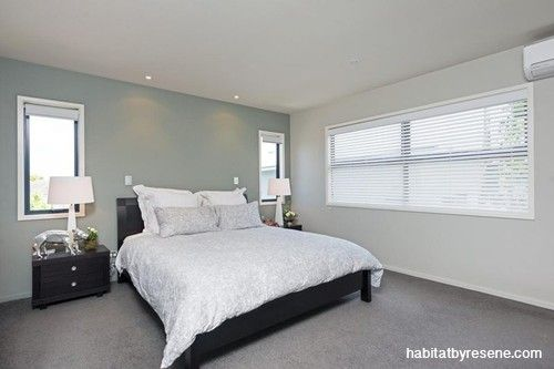 Pam and Allan's beachy vibe.  Bedroom walls in Resene Dusted Blue and Resene Half Duck Egg Blue.