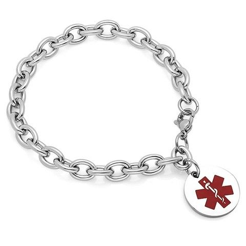 Lovely Medical ID Bracelet - Medical ID Bracelet with Round Charm - http://www.forevergifts.com/medical-id-bracelet-with-round-charm/