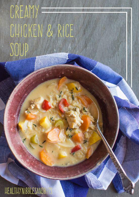 Creamy Chicken Rice Soup | healthynibblesandbits.com