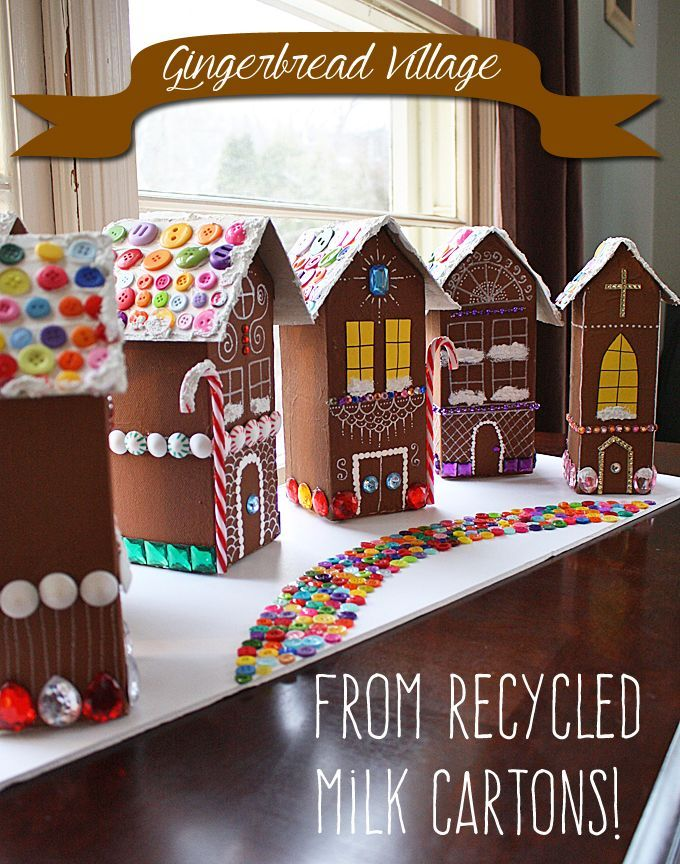 Recycled Village of Gingerbread Houses by Amanda Formaro of Crafts by Amanda http://craftsbyamanda.com/2014/12/gingerbread-house-village.html
