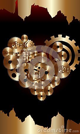 Bronze gears in heart shape with red and black background.