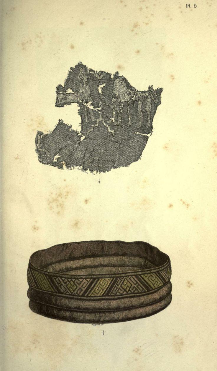 """Detail of a Mammen textile & cuff """"Om Mammen-Fundet"""" in Aarboger for Nordisk Oldkyndighed og Historie. 1869."""
