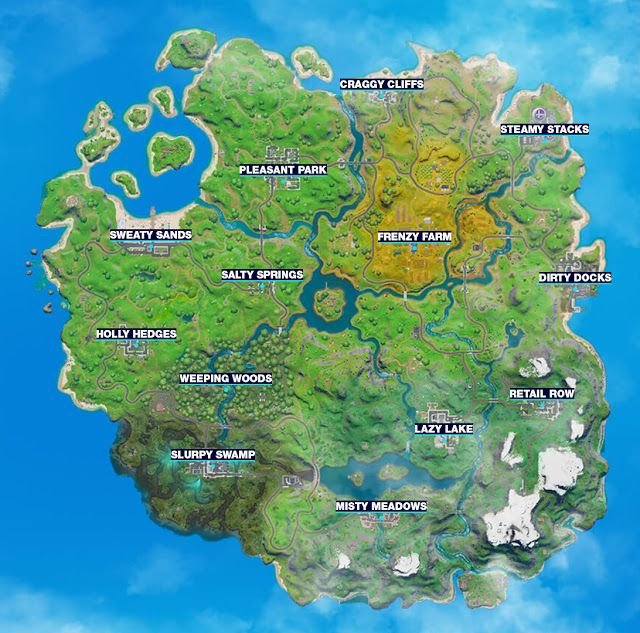 Fortnite Map Chapter 2 Season 1 New Map All Cities Localities