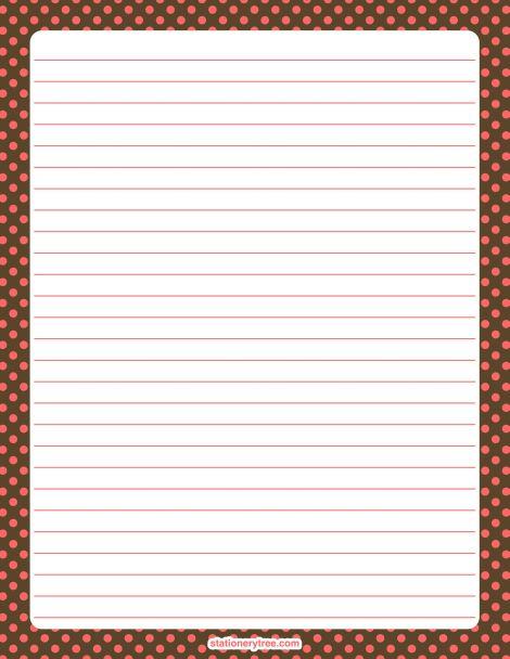 Printable pink and brown polka dot stationery and writing ...