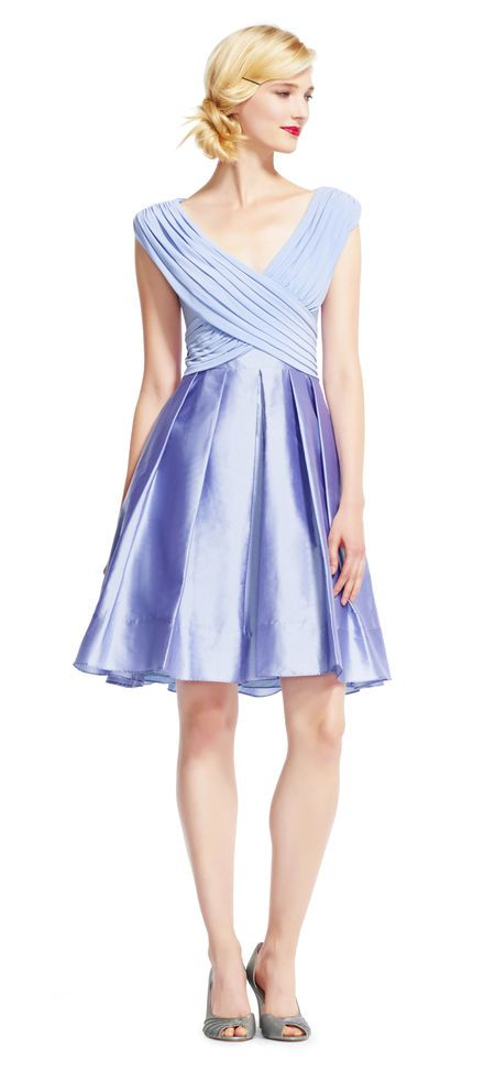 Adrianna Papell | Off the Shoulder Fit and Flare Dress with Taffeta Skirt
