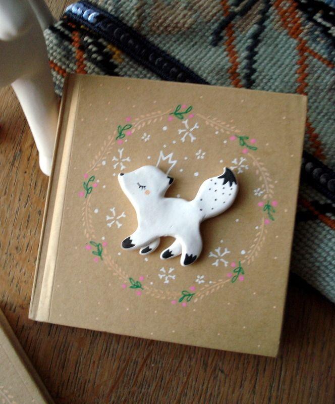 """Carnet  """"Mon renardeau"""" oMamaWolf illustration et porcelaine froide, Mini-livre d'Or"""